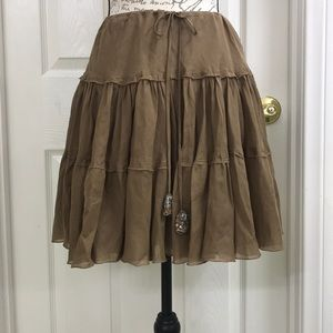 Cotton and Silk Taupe Express Skirt